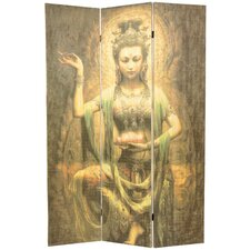 "70.25"" x 46.25"" Bamboo Tree Kwan Yin 3 Panel Room Divider"