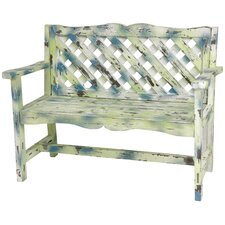 <strong>Oriental Furniture</strong> Distressed Lattice Wooden Garden Bench