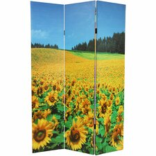 "<strong>Oriental Furniture</strong> 71"" x 47.25"" Brids and Flowers Double Sided 3 Panel Room Divider"