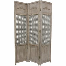"<strong>Oriental Furniture</strong> 71.5"" x 50.25"" Open Mesh 3 Panel Room Divider"