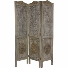 "<strong>Oriental Furniture</strong> 74.5"" x 49.5"" Closed Mesh Antique Design 3 Panel Room Divider"