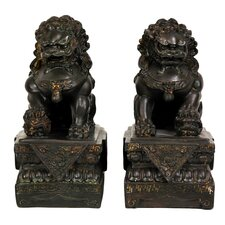 <strong>Oriental Furniture</strong> 2 Piece Foo Dog Figurine Set (Set of 2)
