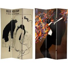 "71"" x 47.63"" Billie Holiday 3 Panel Room Divider"