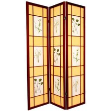 Herbal Scene Shoji Room Divider in Rosewood