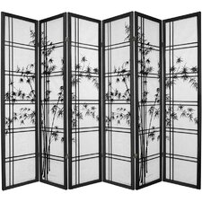 "72"" x 84"" Bamboo Tree Double Cross Shoji 6 Panel Room Divider"