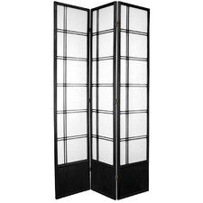 Double Cross Shoji Room Divider in Black
