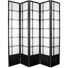 "83.5"" x 70"" Double Cross Shoji 5 Panel Room Divider"