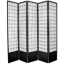 "83.5"" x 70"" Window Pane Shoji 5 Panel Room Divider"