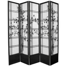 "83.5"" x 72"" Double Cross Shoji Bamboo Tree 5 Panel Room Divider"