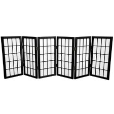 "26"" x 59"" Window Pane Shoji 6 Panel Room Divider"