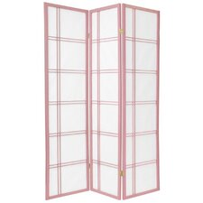 Double Cross Shoji Screen in Pink