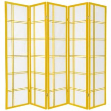 "70"" x 70""Double Cross Shoji 5 Panel Room Divider"