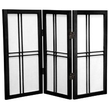 "26"" Desktop Double Cross Shoji Screen 3 Panel Room Divider"