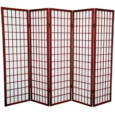 "60"" x 70"" Window Pane Shoji 5 Panel Room Divider"