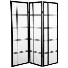 5 Feet Tall Double Cross Shoji Screen in Black