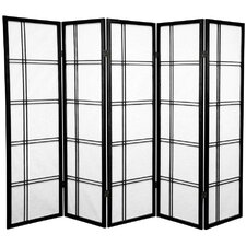 "60"" Double Cross Shoji Screen 5 Panel Room Divider"