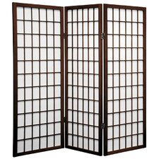 4 Feet Tall Window Pane Shoji Screen in Walnut