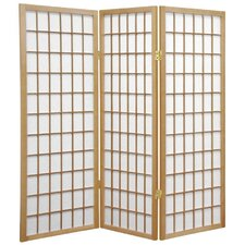4 Feet Tall Window Pane Shoji Screen in Natural