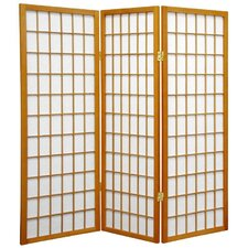4 Feet Tall Window Pane Shoji Screen in Honey