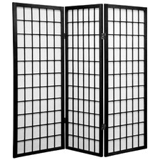 4 Feet Tall Window Pane Shoji Screen in Black