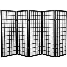 "48"" x 71"" Window Pane Shoji Screen 5 Panel Room Divider"