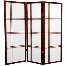 "<strong>Oriental Furniture</strong> 48"" Double Cross Shoji Screen 3 Panel Room Divider"