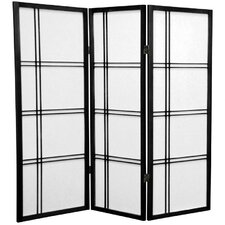 "<strong>Oriental Furniture</strong> 48"" x 42"" Double Cross Shoji 3 Panel Room Divider"