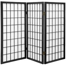 "35.75"" x 43"" Window Pane Shoji 3 Panel Room Divider"