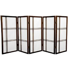 "35.75"" x 72"" Double Cross Shoji 5 Panel Room Divider"