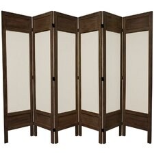 "67"" Tall Solid Frame Fabric 6 Panel Room Divider"