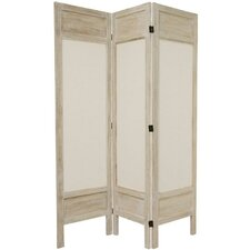 Solid Frame Fabric Room Divider in Burnt White