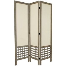 6 Feet Tall Open Lattice Fabric Room Divider in Burnt Grey