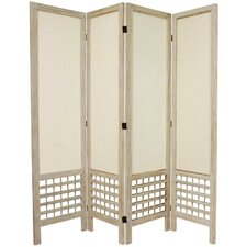 "67"" Tall Open Lattice Fabric 4 Panel Room Divider"