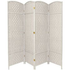 "<strong>Oriental Furniture</strong> 71"" x 64"" Diamond Weave 4 Panel Room Divider"