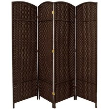 "71"" x 64' Tall Diamond Weave Fiber 4 Panel Room Divider"