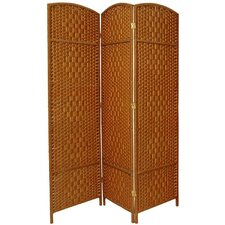 6 Feet Tall Diamond Weave Fiber Room Divider in Dark Beige