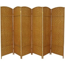 "71"" Tall Diamond Weave Fiber 6 Panel Room Divider"