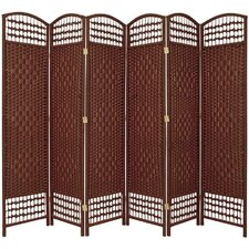 "67"" Tall Fiber Weave 6 Panel Room Divider"