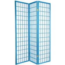 "70"" x 42"" Window Pane Shoji 3 Panel Room Divider"