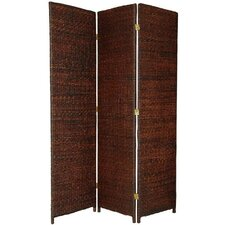"71"" x 44"" Rush Grass Woven 3 Panel Room Divider"