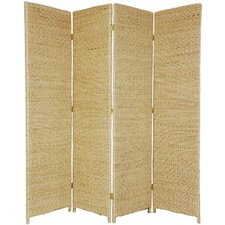 "<strong>Oriental Furniture</strong> 71"" x 58"" Rush Grass Woven 4 Panel Room Divider"