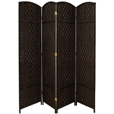 Diamond Weave 4 Panel Room Divider in Black
