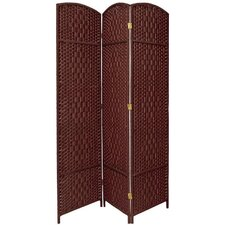 Diamond Weave 3 Panel Room Divider in Dark Red