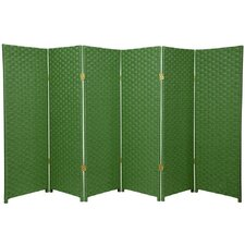 Woven Fiber 6 Panel Room Divider in Light Green