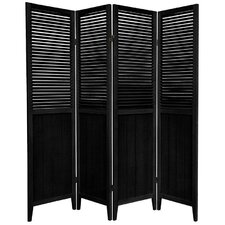 Beadboard 4 Panel Room Divider in Black