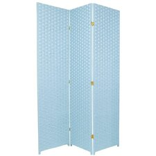 Special Edition Woven Fiber 3 Panel Room Divider in Aqua Blue