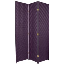 Special Edition Woven Fiber 3 Panel Room Divider in Deep Purple