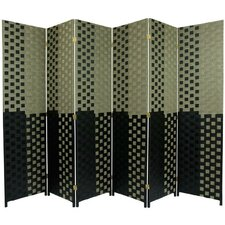 Woven Fiber 6 Panel Room Divider in Olive and Black