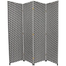 Woven Fiber 4 Panel Room Divider in Black and White