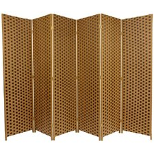 "<strong>Oriental Furniture</strong> 70.75"" x 105"" Woven Fiber 6 Panel Room Divider"
